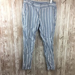 LOFT Blue White Stripe Skinny Pants Sz 4